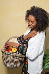 Ethiopian girl with fruit