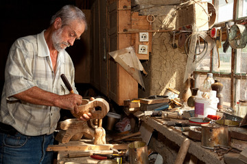 Wood worker in old shed
