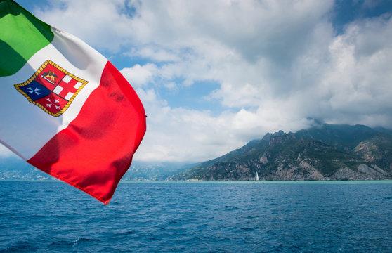 Italian flag and the sailing boat