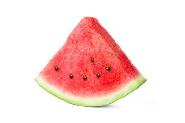One slice of tasty fresh watermelon isolated on white background
