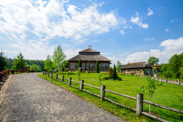 Beautiful amazing summer landscape of Russian village. Old woode