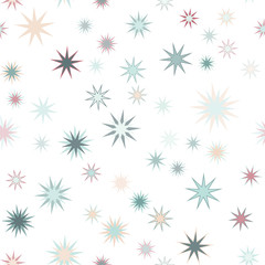 Seamless vector repetitive background with multicolored stars on white background.