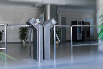 Passage with a turnstile.