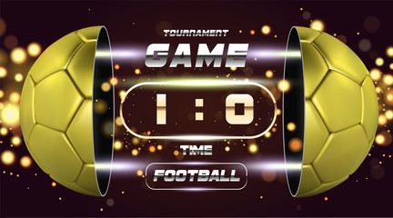Football banner, poster or flyer design with 3d golden Ball. Soccer game match design with timer or scoreboard. Half ball. Ball divided into two parts. Soccer league with game competition score