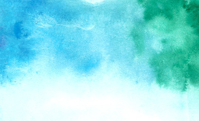 Blumarin watercolor abstract, blue turquoise colorful tender stains