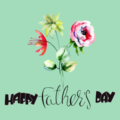 Stylized flowers watercolor illustration with title Happy Fathers day