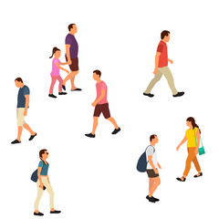Wall Mural - white background, flat style people go, without face