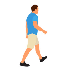 Wall Mural - vector, isolated, white background, flat style man walking, without face