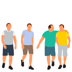 Wall Mural - isolated, white background, flat style people go, without face