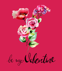Red Roses flowers with title be my Valentine