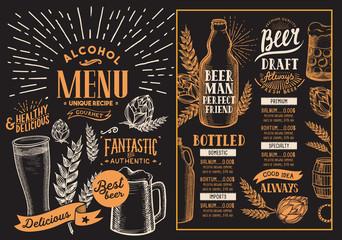 Beer drink menu for restaurant and cafe. Design template on blackboard background with hand-drawn graphic illustrations. Vector beverage flyer for bar.