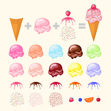 Construct your ice cream. Concept ice cream designer. Cone, ice cream scoops and different toppings