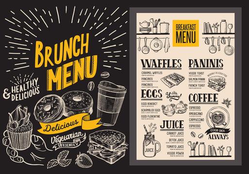 Brunch menu for restaurant. Vector food flyer for bar and cafe. Design template with vintage hand-drawn illustrations.