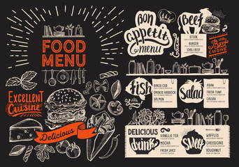 Food menu for restaurant. Vector food flyer for bar and cafe on blackboard background. Design template with vintage hand-drawn illustrations.
