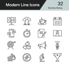Business Startup icons. Modern line design set 32. For presentation, graphic design, mobile application, web design, infographics.