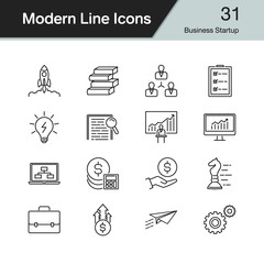 Business Startup icons. Modern line design set 31. For presentation, graphic design, mobile application, web design, infographics.