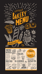 Menu for bakery. Design template with dessert hand-drawn graphic illustrations. Vector food flyer for restaurant.