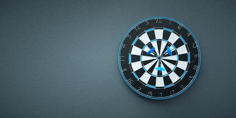 Arrows on target dart on grey background