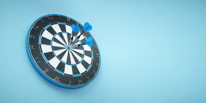 Arrows on target dart on blue background