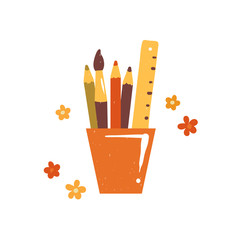 Hand-drawn school accessories in glass holder isolated on white background. Sketchy cute icon of pencils, brush and ruler. Set of office supplies on illustration about learning and art.