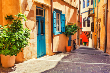 Beautiful cozy street in Chania, Crete island, Greece.