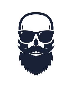 Bald, bearded hipster skull wearing sunglasses