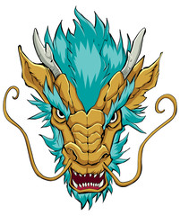 Chinese Dragon Head Gold / Hand drawn illustration of Chinese dragon in gold and sea green.
