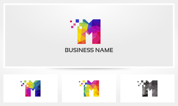 Colorful Letter M Pixel Eroded