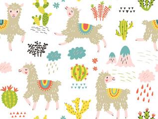 Seamless pattern with lama