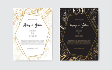 Gold, black, white marble template. Trendy pattern, graphic poster, geometric brochure, cards.