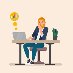 Man working on laptop. Flat cartoon person character, freelancer workplace, work desk. Business concept vector illustration