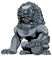 Chinese Lion Iron / Hand drawn illustration of iron Chinese lion statue.