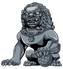 Chinese Lion Iron / Hand drawn illustration of iron Chinese lion statue.