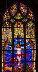 Photo sur Plexiglas Vitrail Jesus Crucifixion Stained Glass All Saints Castle Church Schlosskirche Wittenberg Germany