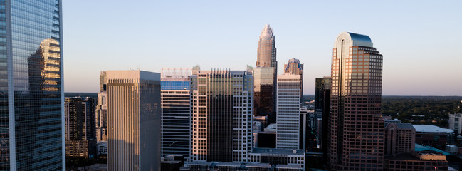 Aerial View of Select Buildings Downtown City Skyline of Charlotte North Carolina