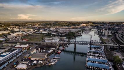 Aerial View Thea Foss Waterway Tacoma Washington Mt Rainier Visible