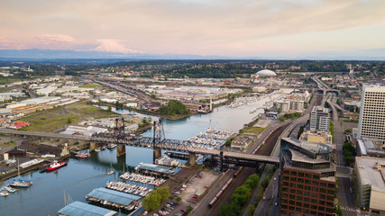 Aerial View Thea Foss Waterway Tacoma Washington Mt Rainier Visible
