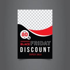 Black Friday Brochure design. Black and red poster. Discount banner. Sale tag. Gift voucher. Vector Illustration