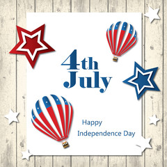 4th of July with USA flag, Independence Day Banner illustration