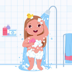Little child girl character take a shower. Daily routine. Bathroom interior background
