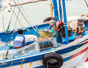 A fishing boat in the bay, Halong, Vietnam. Close-up.
