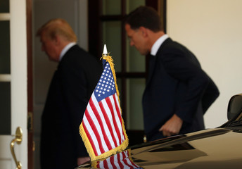 U.S. President Donald Trump and Dutch Prime Minister Mark Rutte enter the White House for their meeting in Washington
