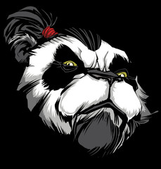Panda Master on Black / Hand drawn illustration of proud panda warrior on black background.