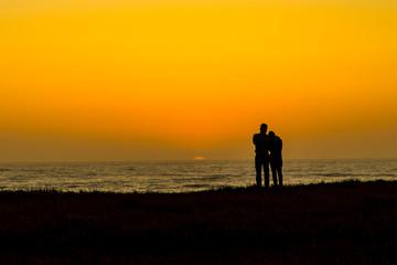 Romance at sunset on the golden coast