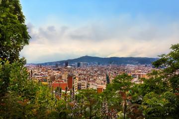 Beautiful panoramic view of Barcelona. View from Montjuic mountain to Tibidabo mountain.