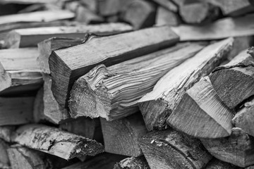 Black and white photo firewood