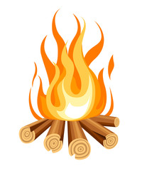 Burning bonfire with wood. Vector cartoon style illustration of bonfire. Isolated on white background