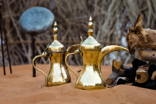Arabic  coffee pots is ready to be placed on the open fire