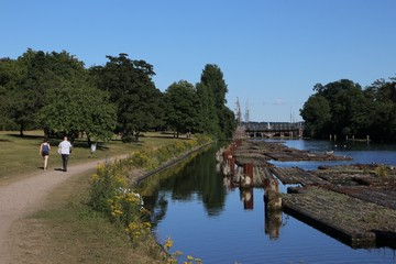 walk at the picturesque old lock of the Kiel-Canal in Holtenau