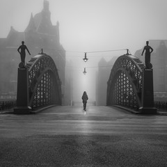 Historic bridge at deep fog